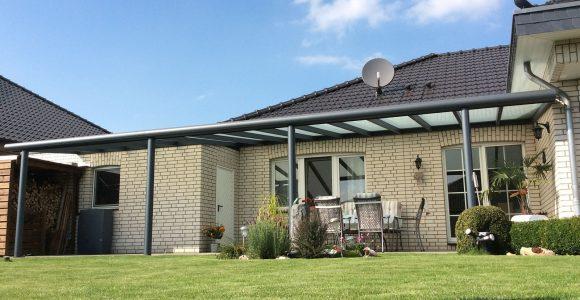 Terrassenberdachung Alu Mit Polycarbonatplatten 7m Breit X 4m Tief inside size 1600 X 1195